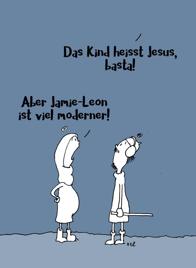 Cartoon zu Weihnachten Maria und Josef diskutieren mit Gott über einen Namen für ihr Kind
