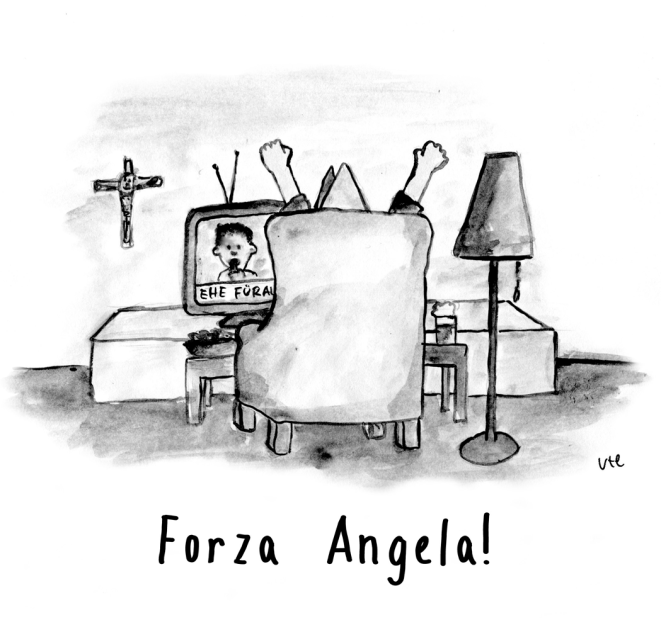 Cartoon Papst freut sich heimlich über die Ehe für alle
