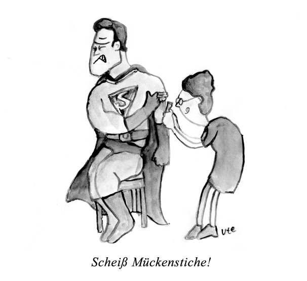 Cartoon Superman Mückenstich by Ute Hamelmann