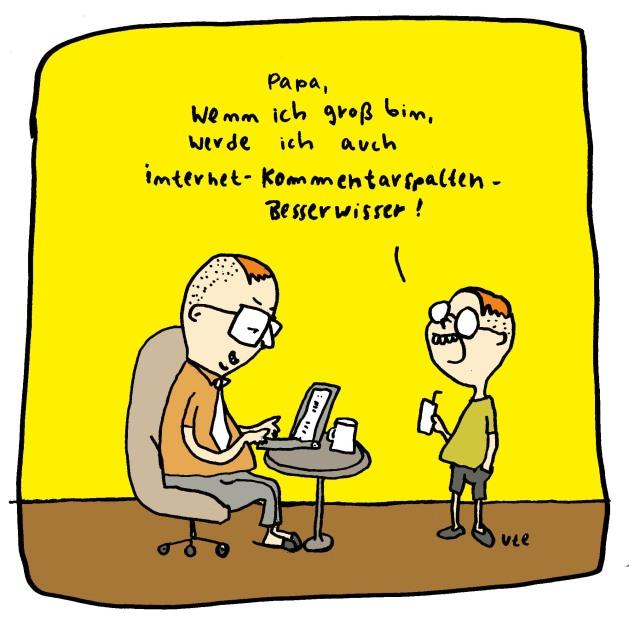 Internet Besserwisser kommentieren gerne, Cartoon von Ute Hamelmann