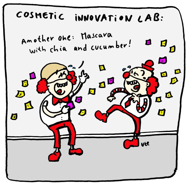 Cartoon about an innovation lab for a cosmetic company
