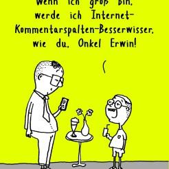 Cartoon über die Besserwisser Kommentare und Kommentierer im Internet