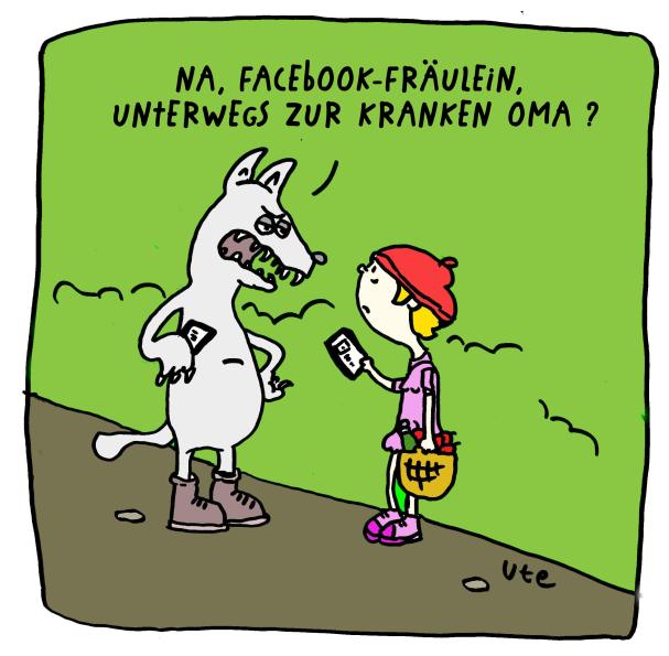 Cartoon Rotkäppchen bei Facebook von Ute Hamelmann