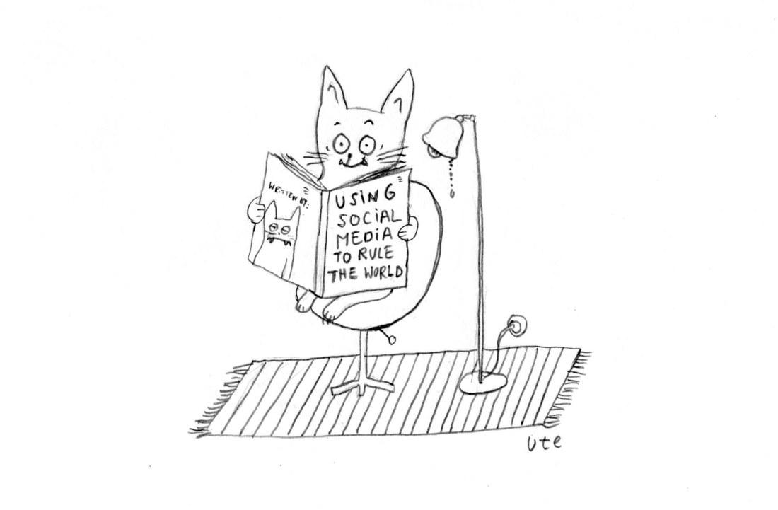 Cartoon zum Weltkatzentag von Ute Hamelmann