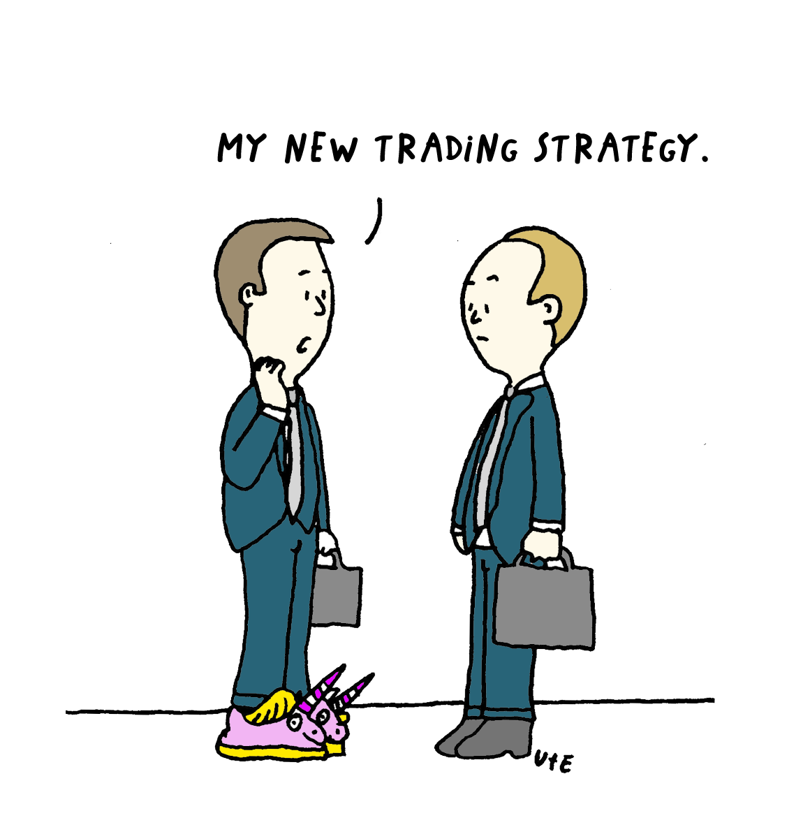 Cartoon Trader wears Unicorn shoes.