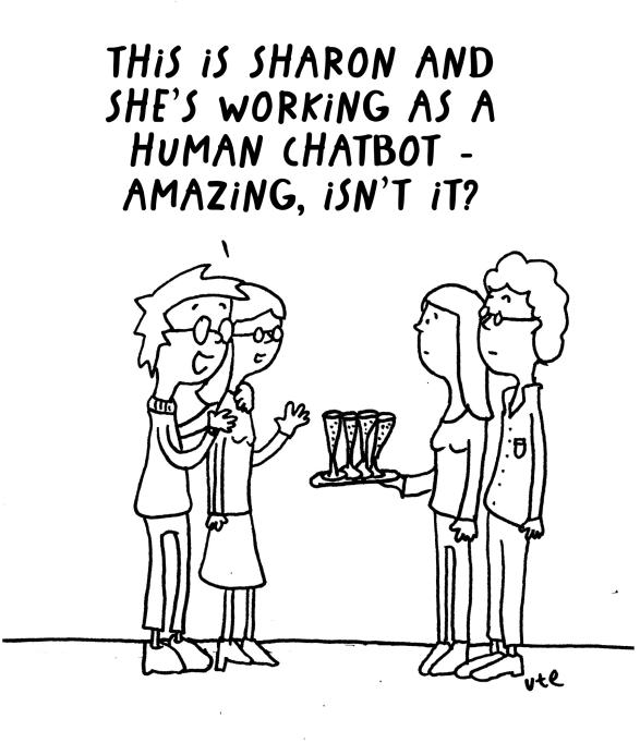 Cartoon about a Human Chatbot