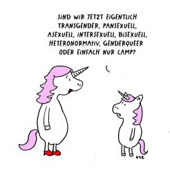 Cartoon. Transgender, Genderqueer Unicorn, Einhorn
