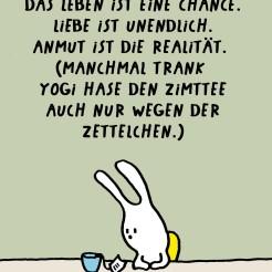 Cartoon Yogi Hase grübelt über die Texte auf den Zettelchen von Yogi Zimttee