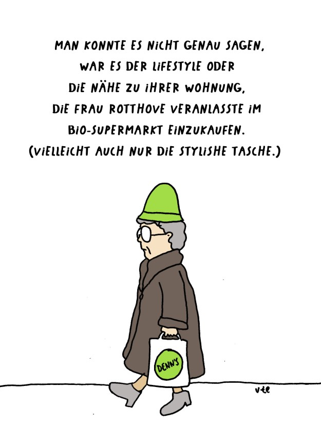 Cartoon Oma geht in den Denn's Bio-Supermarkt in Münster