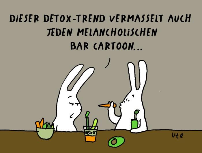 Cartoon Comic über den Detox Trend