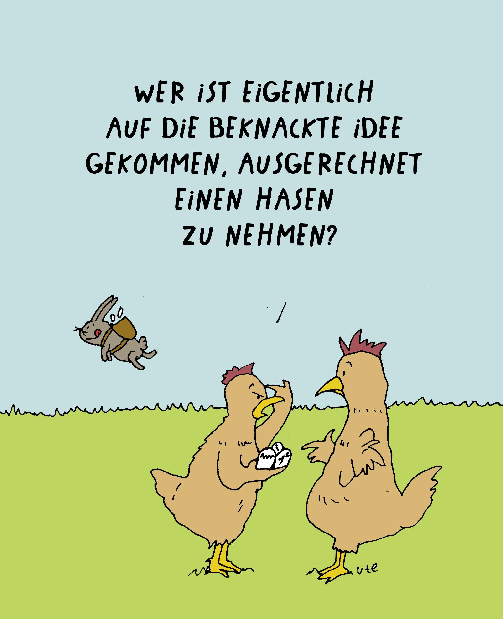 Cartoon Frohe Oster von Ute Hamelmann mit einem Osterhasen