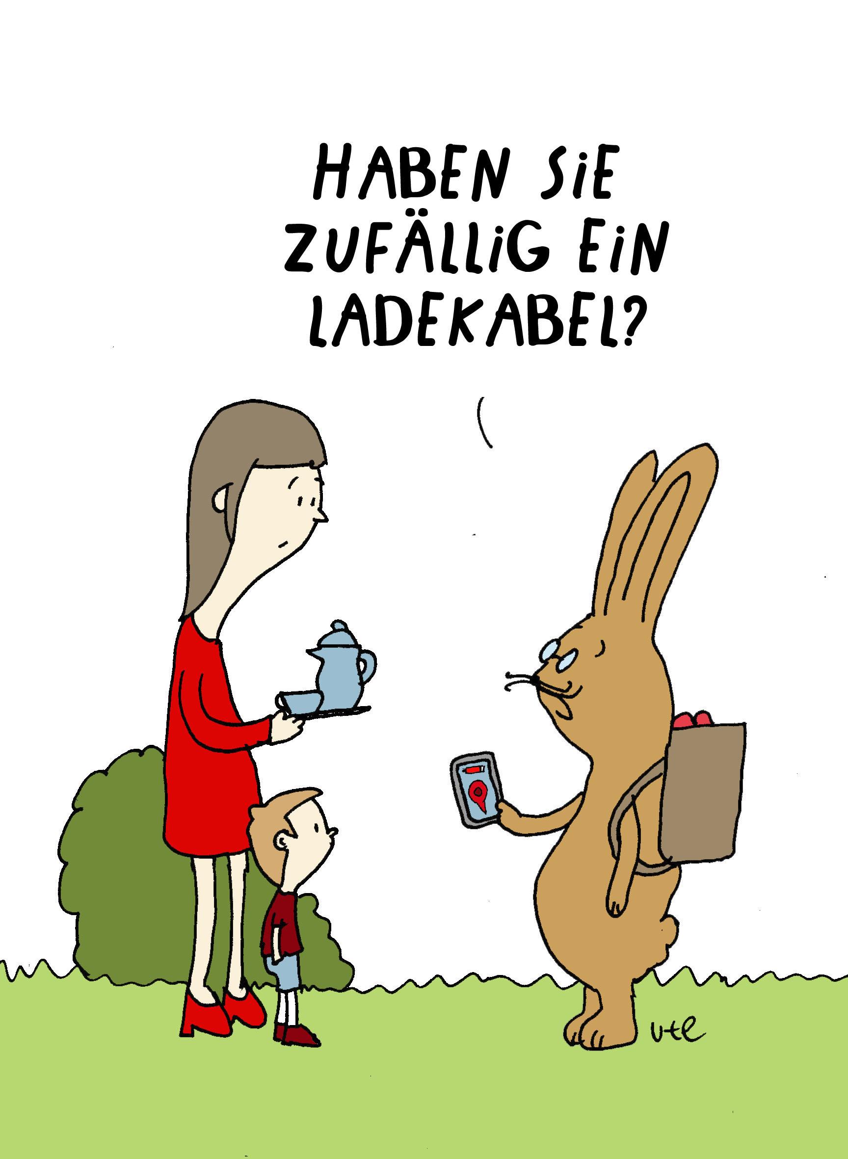 Cartoon Frohe Ostern Osterhase mit Handy