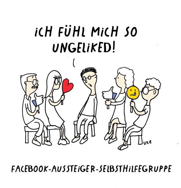 Cartoon Selbsthilfegruppe für Facebook Aussteiger