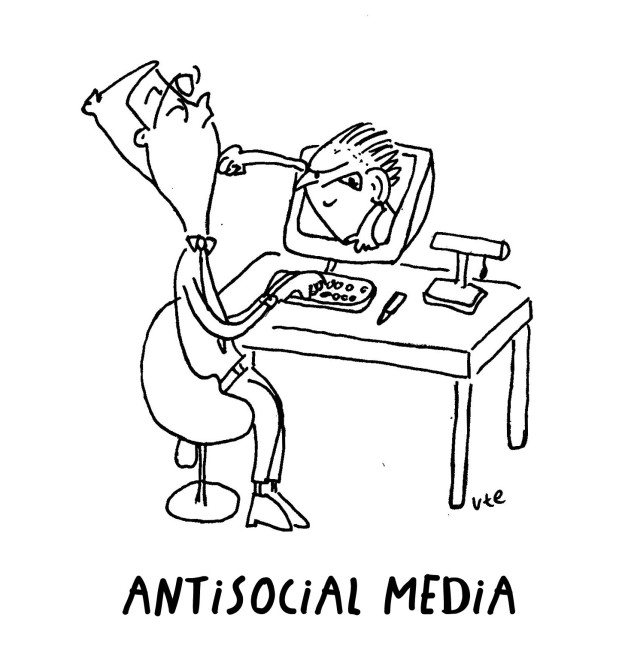 Cartoon about trolls and antisocial media