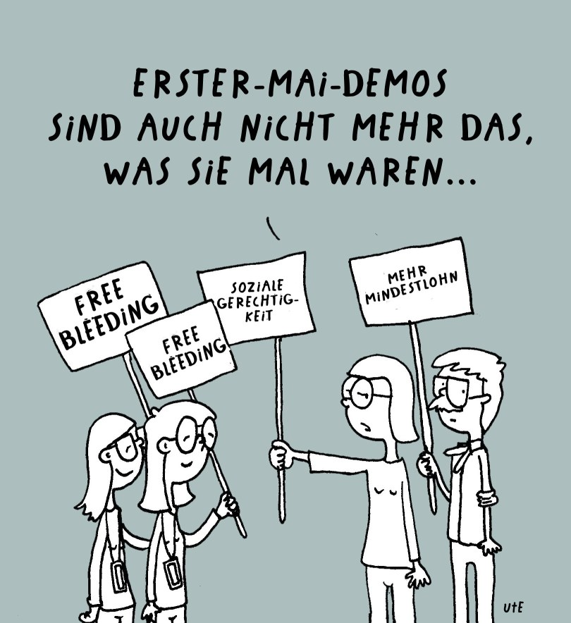 Cartoon Ute Hamelmann, erster Mai Demo