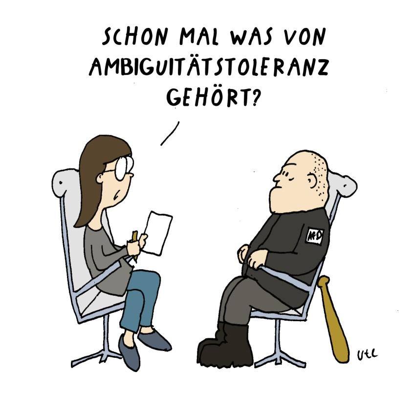 Cartoon Nazi sitzt beim Psychologen gezeichnet von Ute Hamelmann Nazi sits with psychologist
