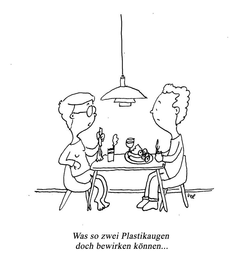 Cartoon über Nudging zum Thema Fleischverzicht, Mann und Frau sitzen am Tisch, Frau hat Plastikaugen auf die Würstchen geklebt.
