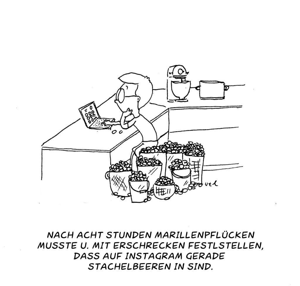Cartoon Frau hat Marillen gepflückt und will sie bei Instagram posten von Ute Hamelmann