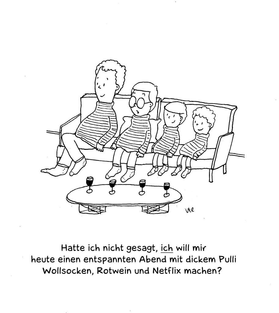 Cartoon entspannter Mütterabend auf dem Sofa