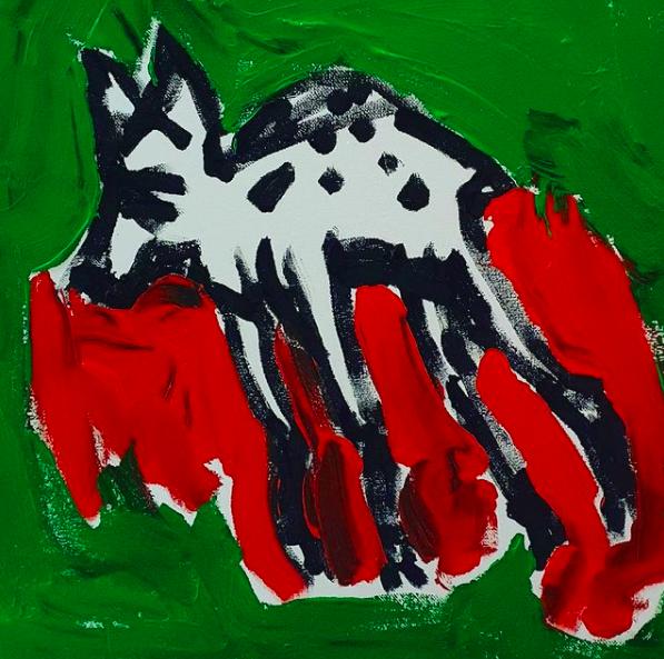 Ute Hamelmann, Rehlein tot, Acryl on Canvas